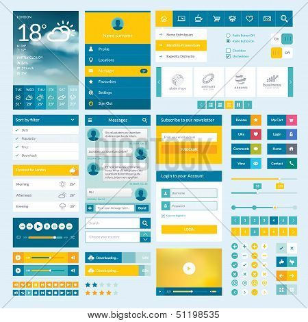 Set of flat web elements for mobile app and web design