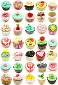 foto of mural  - Mural of several cupcakes in vertical on white background - JPG