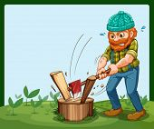 image of wood pieces  - Illustration of a lumberjack chopping the wood - JPG
