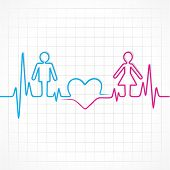 stock photo of heartbeat  - Heartbeat makes male - JPG