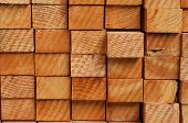 stock photo of lumber  - Close Up Photo Of Stack Of Lumber - JPG