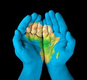 image of continent  - Map Of The Continent Of Africa Painted On Hands - JPG