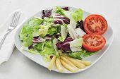 image of romaine lettuce  - a plate with a green salad - JPG
