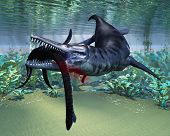 stock photo of giant lizard  - A hapless Plesiosaurus becomes a meal for the much larger Liopleurodon aquatic reptile - JPG
