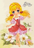 stock photo of elf  - Illustration of cute little princess on floral summer background - JPG