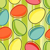 foto of easter-eggs  - vector easter seamless pattern with egg and striped background - JPG