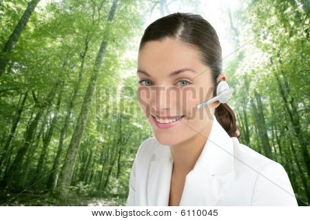 Beautiful Headset Woman In An Forest