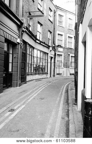 London Back Street in Black & White