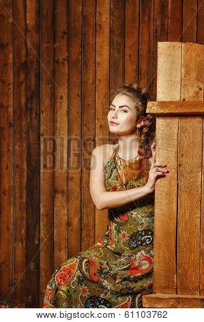 Rural Girl In Barn
