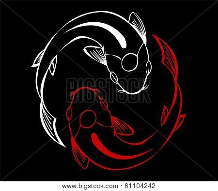 Red and White tattoo fish yin yang or pisces symbol