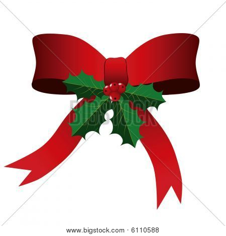 Christmas Bow and Holly Leaves Background