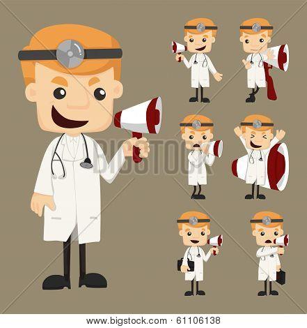 Set Of Doctor With Loud Speaker