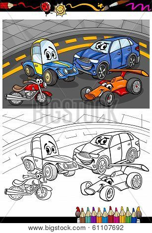 Cartoon Cars For Coloring Book