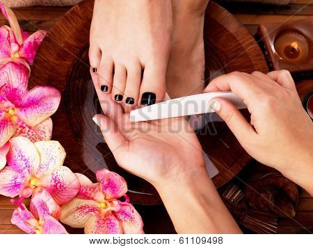 Pedicurist Master Makes Pedicure On Woman's Legs