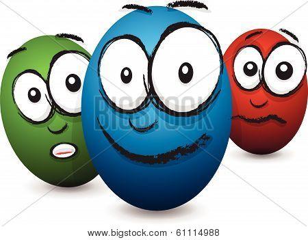 cartoon coloured egg face