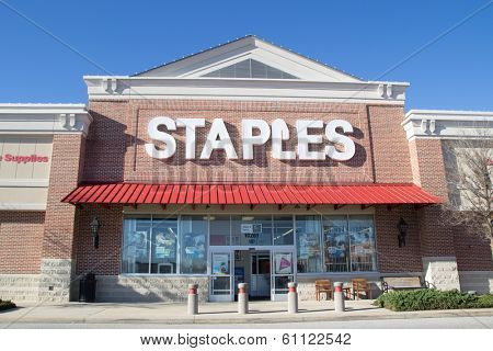 JACKSONVILLE, FLORIDA - MARCH 8, 2014: A Staples retail store in Jacksonville. Staples is an American office supply company, founded in 1986, with over 2,000 store in 26 countries.
