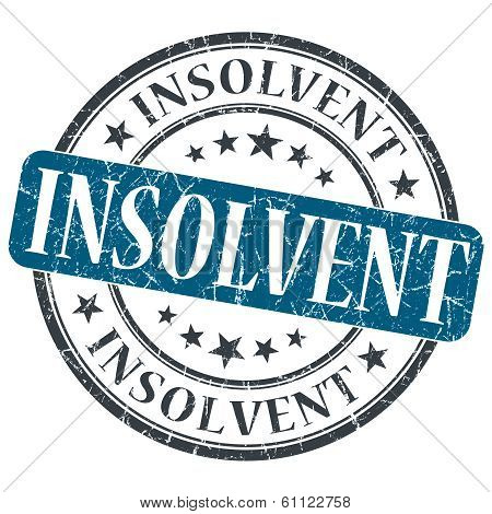 Insolvent Blue Grunge Round Stamp On White Background