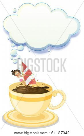 Illustration of a big cup of choco drink with a girl playing on a white background