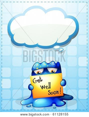 Illustration of a monster holding a get-well-soon card with an empty callout