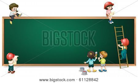 Illustration of the kids around the empty greenboard on a white background