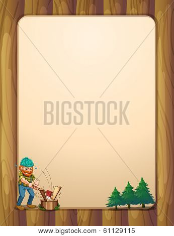 Illustration of a busy lumberjack in front of the empty wooden template