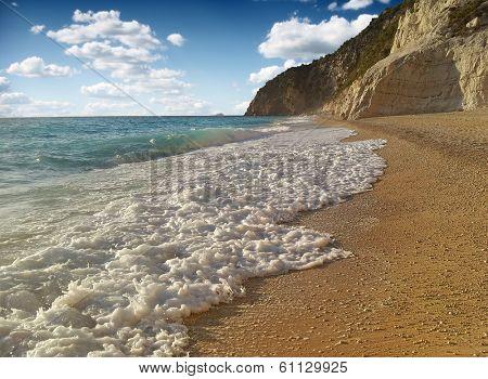 A beach scene at Porto Katsiki in Greece, Lefkada