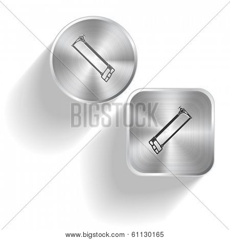 Hacksaw. Vector set steel buttons