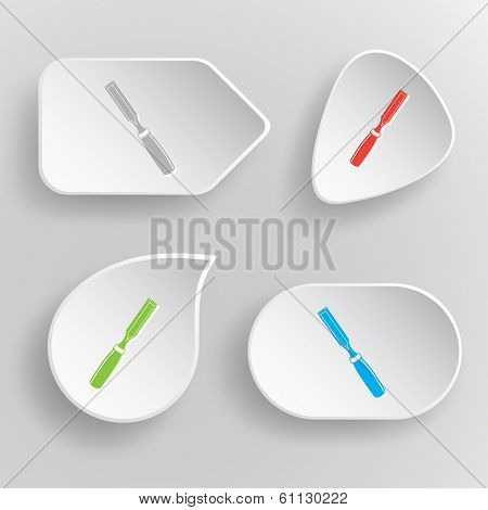 Chisel. White flat vector buttons on gray background.