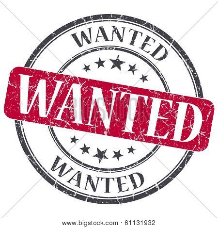 Wanted Red Grunge Round Stamp On White Background