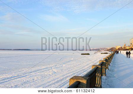 Samara Volga Embankment In Winter
