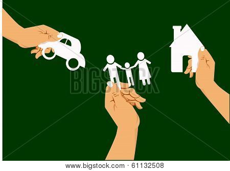 hand holding a paper home, car, family on green background, insurance concept,  vector illustration.