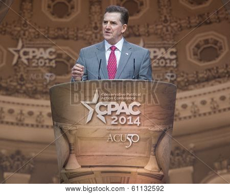 NATIONAL HARBOR, MD - MARCH 8, 2014: Heritage Foundation president Jim DeMint speaks at the Conservative Political Action Conference (CPAC).