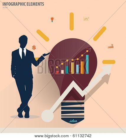 Businessman showing light bulb concept for idea. Vector illustration.