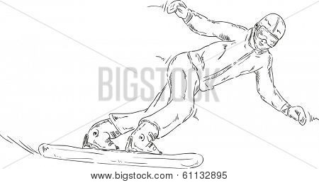 vector - snowboard downhill - isolated on background