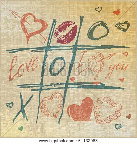 vector Tic Tac Toe Hearts, Valentine background. The valentine's day. Love heart. Hand-drawn icons s