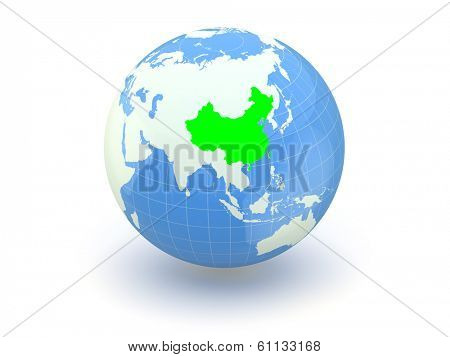 Globe. 3d. China. Elements of this image furnished by NASA