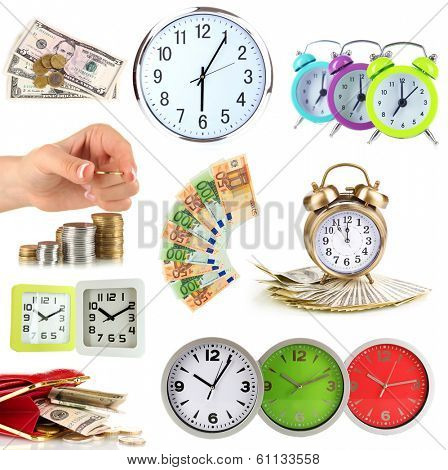 Collage of clocks and money isolated on white