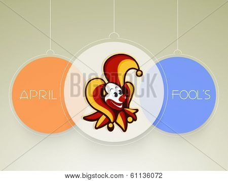 Happy Fool's Day funky sticker, tags or labels with joker.