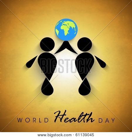 Abstract world heath day concept with globe and black silhouette of peoples on brown background.