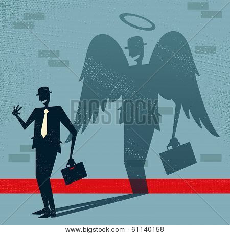 Abstract Businessman Is Angel In Disguise.