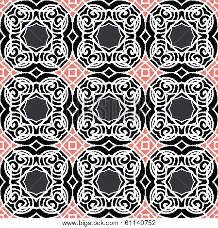 Vintage vector art deco pattern in dark colors