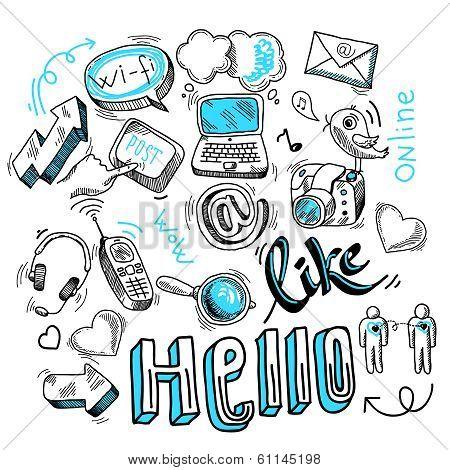 Doodle social media signs