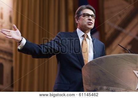 NATIONAL HARBOR, MD - MARCH 7, 2014: Texas Governor Rick Perry speaks at the Conservative Political Action Conference (CPAC).