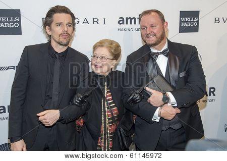 NEW YORK-FEB 5: Actor Ethan Hawke, amfAR Founding Chairman Dr. Mathilde Krim & amfAR CEO Kevin Frost attend the 2014 amfAR New York Gala at Cipriani Wall Street on February 5, 2014 in New York City.
