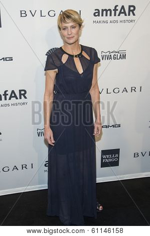 NEW YORK-FEB 5: Actress Robin Wright attends the 2014 amfAR New York Gala at Cipriani Wall Street on February 5, 2014 in New York City.