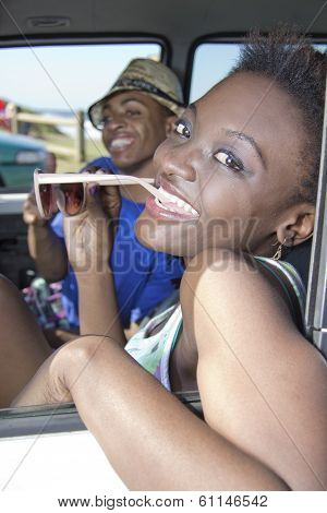 African American Couple relaxing in their car