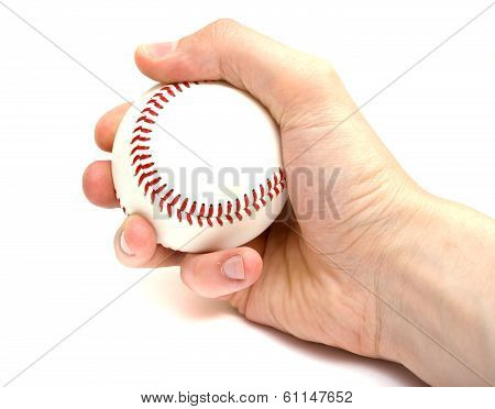 Hand Holding a Baseball Isolated on a White Background