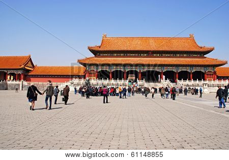 Gate Of Supreme Harmony In Forbidden City, Beijing, China.