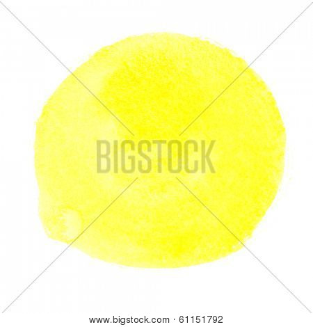 Yellow round watercolor brush stroke - space for your own text