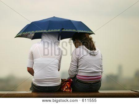 Girlfriends Under Umbrella